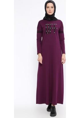 İncili Elbise - Mor - Ginezza
