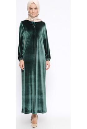 Kadife Elbise - Açık Yeşil - Ginezza