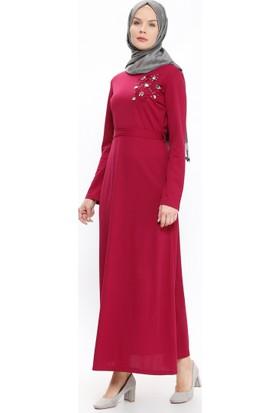 Taş Detaylı Elbise - Fuşya - BÜRÜN