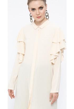 Fırfır Detaylı Tunik Gömlek - Krem - Store Wf