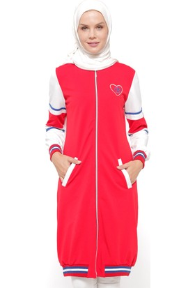 Fermuarlı Spor Kap - Kırmızı - Bwest