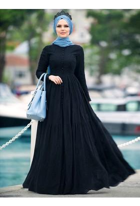 Pamuklu Elbise - Siyah - Muslima Wear
