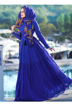 Pamuklu Elbise - Saks Mavi - Muslima Wear