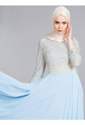 Güpürlü Abiye Elbise - Buz Mavi - Refka