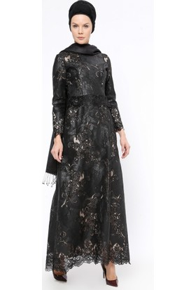 Payetli Abiye Elbise - Siyah - Ginezza