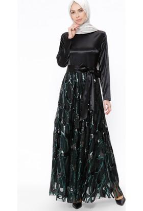 Payetli Abiye Elbise - Siyah Yeşil - Ginezza