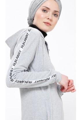 Şeritli Spor Tunik - Açık Gri - Selma Sarı Design