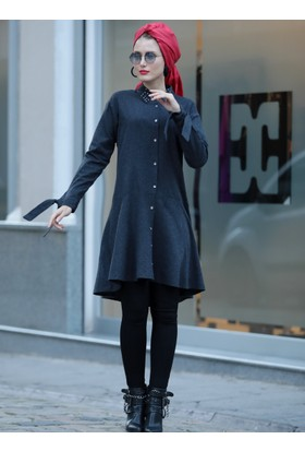 Volanlı Düz Tunik - Siyah - Selma Sarı Design