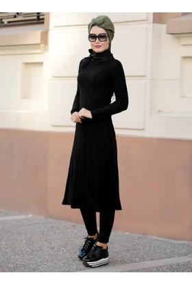 Burgu Triko Tunik - Siyah - Selma Sarı Design