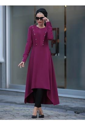 Robalı Uzun Tunik - Mürdüm - Selma Sarı Design