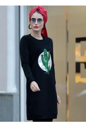 Kaktüs Desenli Tunik - Siyah - Selma Sarı Design