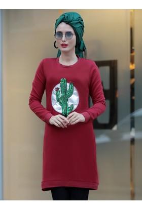 Kaktüs Desenli Tunik - Bordo - Selma Sarı Design