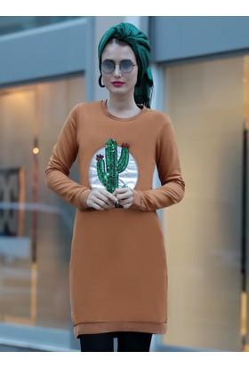 Kaktüs Desenli Tunik - Hardal - Selma Sarı Design