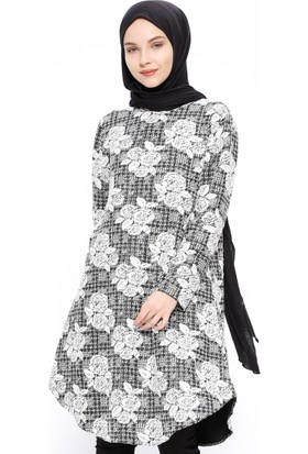 Desenli Tunik - Beyaz - Almera