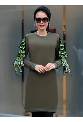 Tavus Kuşu Detaylı Tunik - Haki - Selma Sarı Design
