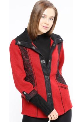 Yünlü Triko Hırka - Kırmızı Siyah - Sementa