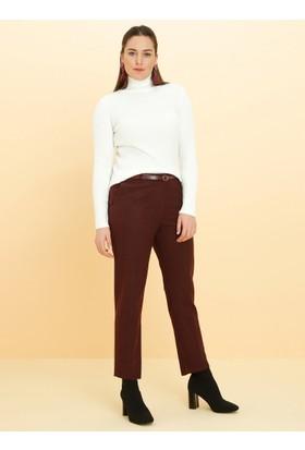 Kemerli Klasik Pantolon - Bordo - Alia