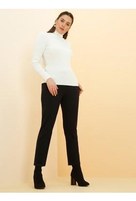 Kemerli Klasik Pantolon - Lacivert - Alia