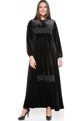 Dantel Detaylı Elbise - Siyah - Ginezza