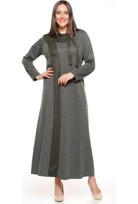 İnci Detaylı Elbise - Haki - Metex