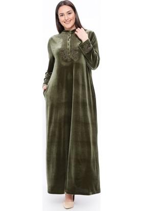 Drop Baskılı Kadife Elbise - Haki - Ginezza