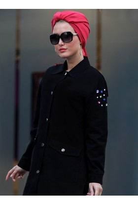 Taşlı Trençkot - Siyah - Selma Sarı Design
