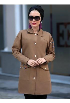 Taşlı Trençkot - Camel - Selma Sarı Design