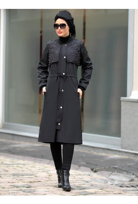İnci Çakmalı Ebru Trençkot - Siyah Pembe - Selma Sarı Design