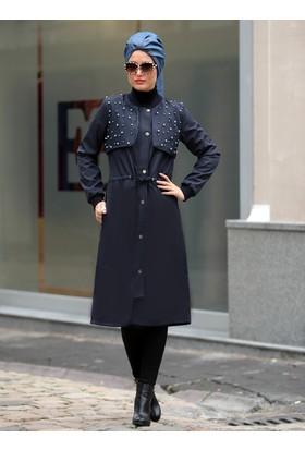 İnci Çakmalı Ebru Trençkot - Lacivert Mavi - Selma Sarı Design