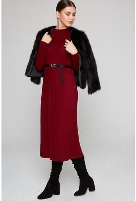 Fullamoda Kadın Piliseli Elbise Bordo