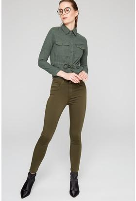 Fullamoda Kadın Yüksek Bel Pantolon Haki