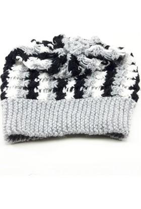 Nill Dünyası El Örgüsü Kadın Şapka - Bere - Siyah/Beyaz
