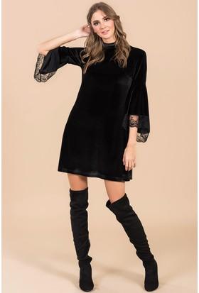 İroni Kolları Volanlı Kadife Elbise - 3942 - 1145 Siyah