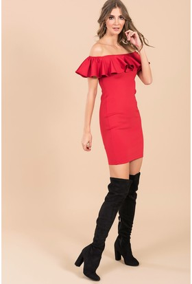 İroni Fırfırlı Straplez Dar Mini Elbise - 5152 - 966 Kırmızı