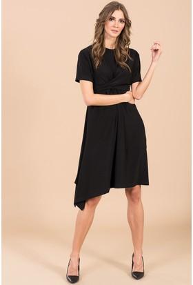 İroni Bel Düğümlü Elbise - 5157 - 284 Siyah
