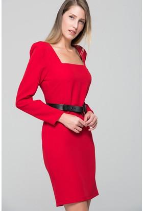 İroni Kare Yaka Mini Elbise - 5161 - 891 Kırmızı