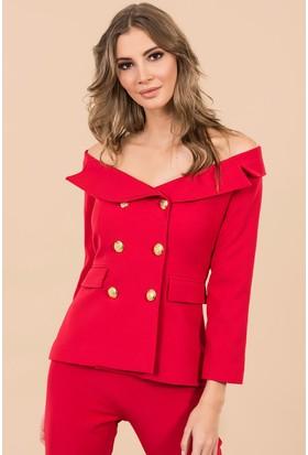 İroni Kayık Yaka Blazer Ceket - 6449 - 891 Kırmızı