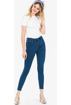 İroni Yüksek Bel Dar Paça Pantolon - 99118 - Acfox Mavi