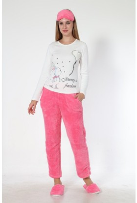 Sendy Kalpli Tavşan Pembe Polar Pijama Takımı