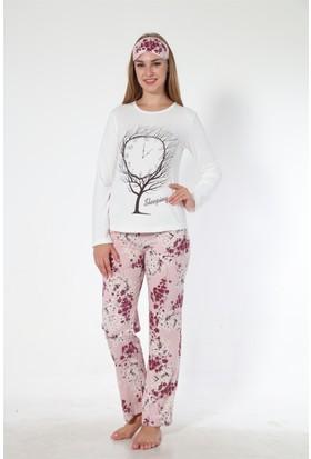 Sendy Bahar Dalı Pamuklu Pembe Bayan Pijama Takımı