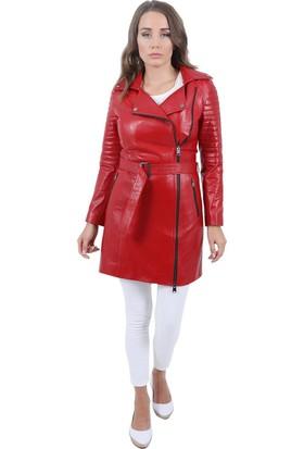 Deri Company Kırmızı Deri Kadın Trençkot