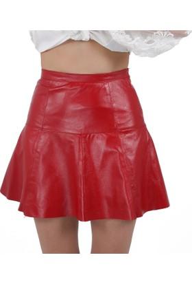 Deri Company Kırmızı Kadın Pileli Etek