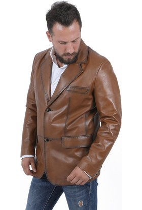 Deri Company Blazer Taba Erkek Deri Ceket