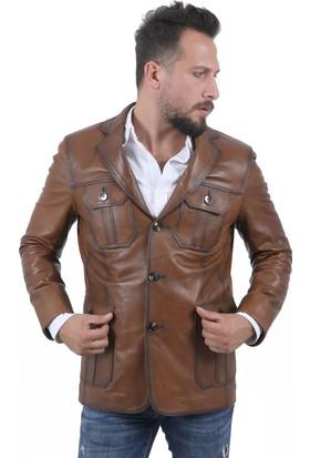 Deri Company Taba Safari Erkek Deri Ceket