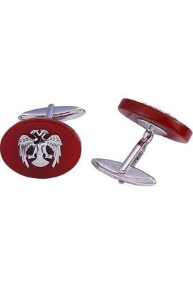 Affix Silver Gümüş Akik Taş Üzeri Çift Başlı Kartal Kol Düğmesi