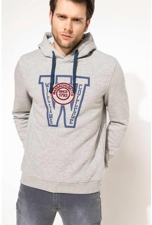 DeFacto Erkek Kapşonlu Baskılı Sweatshirt Gri
