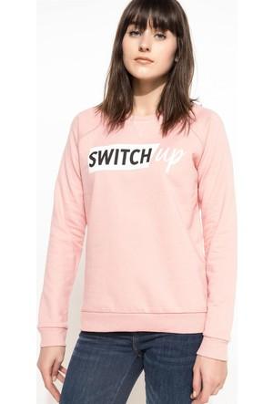 DeFacto Kadın Baskılı Sweatshirt Bordo