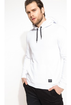 DeFacto Erkek Kapşonlu Sweatshirt Beyaz