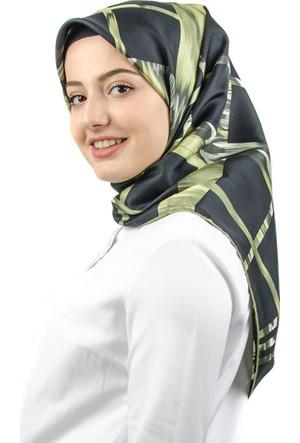 Akel İpek Twill Kare Desen Yeşil Eşarp