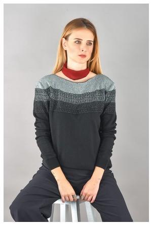 Bukle Moda Yaka Detay Triko Bluz